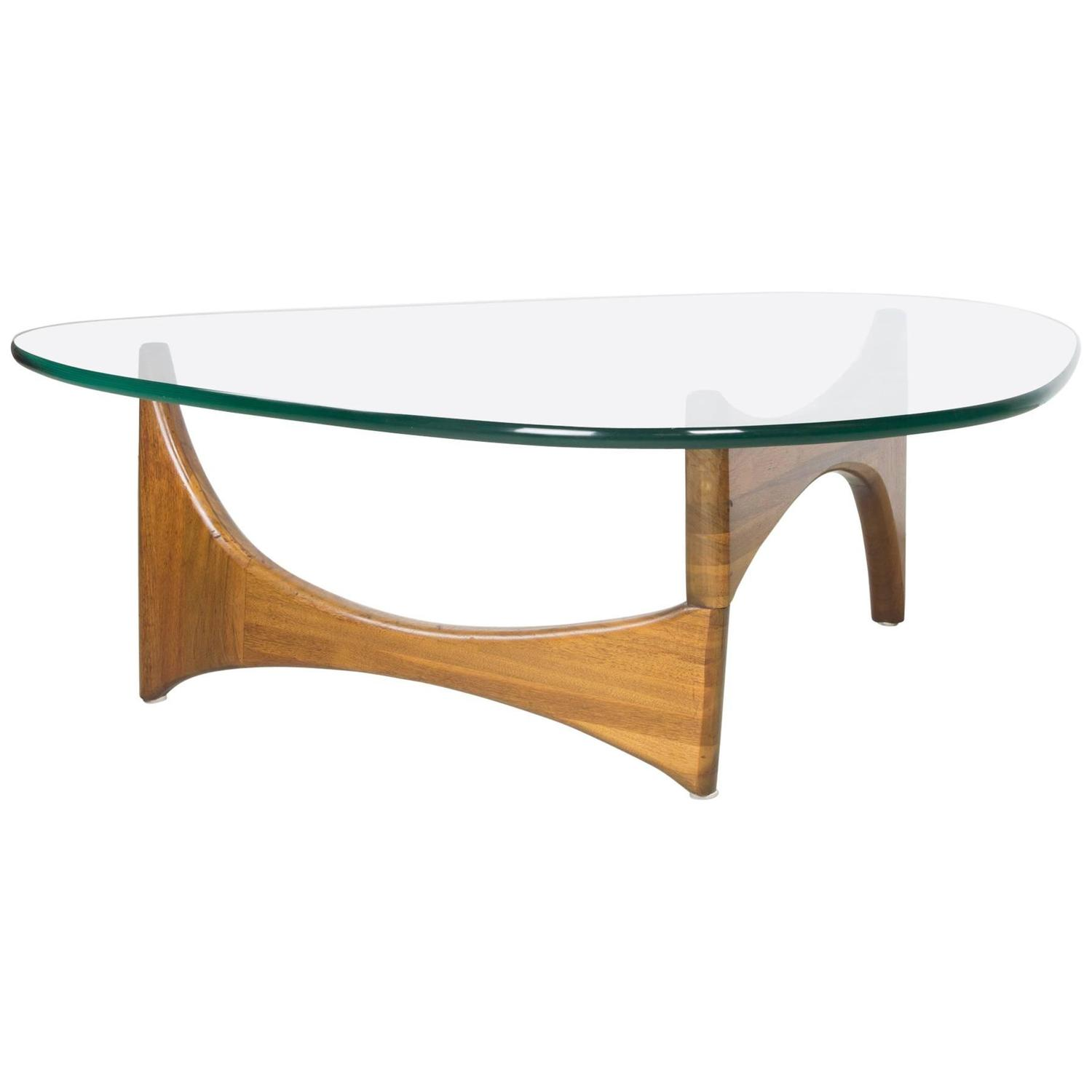 Organic Walnut and Glass Coffee Table by Adrian Pearsall For Sale