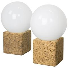 Pair of Cork Table Lamps with Opal Glass Globes by Lightolier