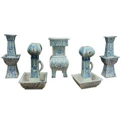 Vintage Five-Piece Chinese Altar Set