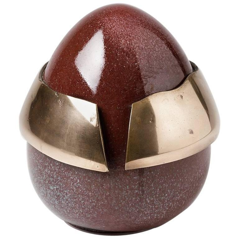 Elegant Egg Form by Tim Orr, Porcelain and Bronze, circa 1970 For Sale