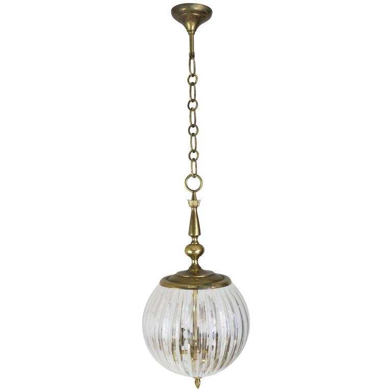 American Gilt Bronze and Slag Glass Hanging Fixture. For Sale at 1stdibs