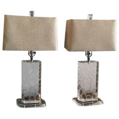 Van Teal Lucite Table Lamps, Pair, Signed Giraffe Pattern Linen Lampshades