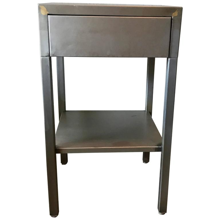 Streamlined Brushed Steel Side Table Nightstand by Superior Sleeprite
