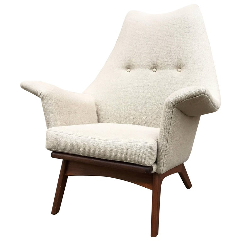 Mid-Century Walnut Wingback Lounge Chair by Adrian Pearsall