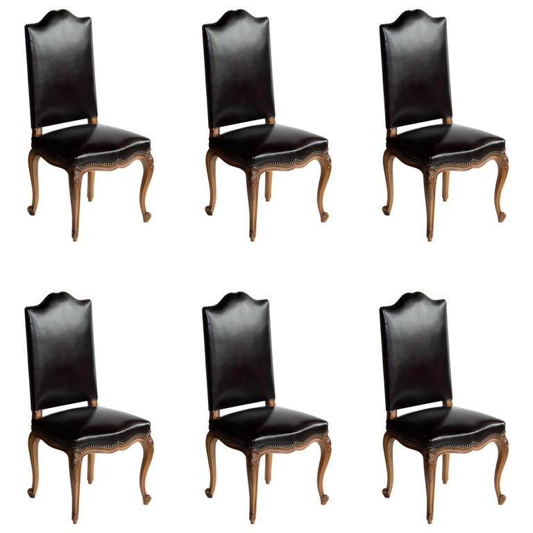Vintage Dining Room Chairs: Set Of Six French Antique Leather Dining Room Chairs For