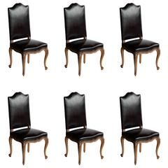 Set of Six French Antique Leather Dining Room Chairs