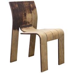 1974, Gijs Bakker, Castelijn, Partly Varnished Stackable Bended Wood Strip Chair