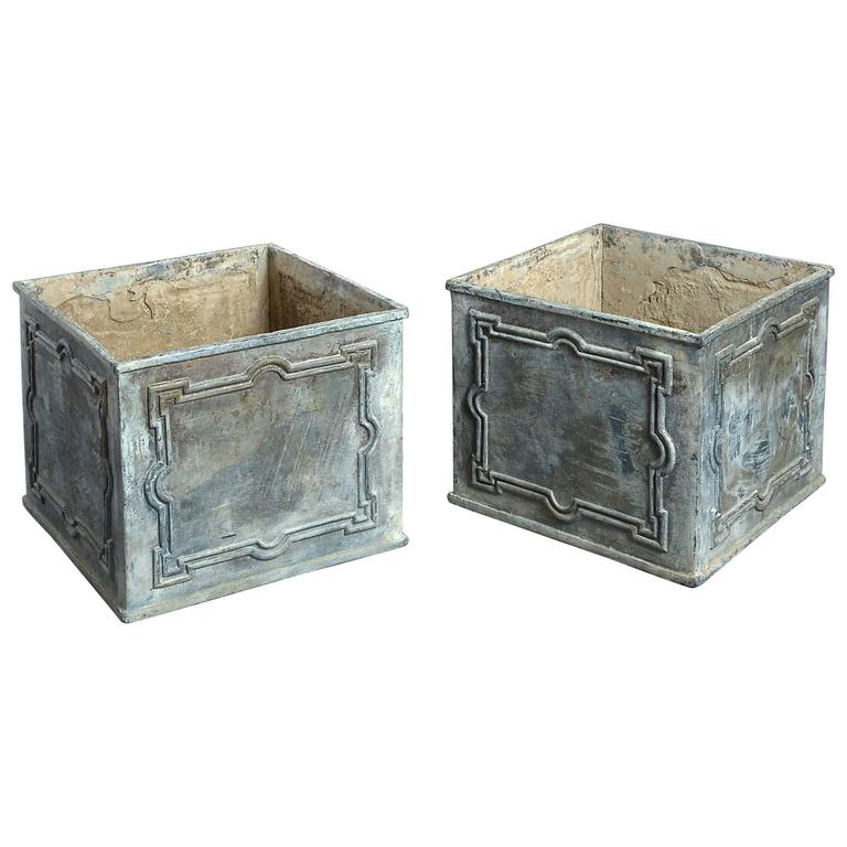 18th century pair of georgian lead planters at 1stdibs for Lead planters for sale