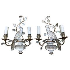 Pair of Crystal and Gilt Maison Bagues Bird Sconces, 1950