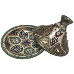 Moroccan Ceramic Tajine from Fez Polychrome
