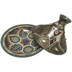 Moroccan Ceramic Tajine from Fez
