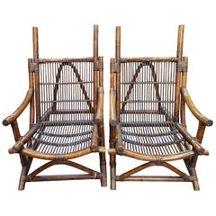 Pair of Bamboo Side Chairs, France, 1940s