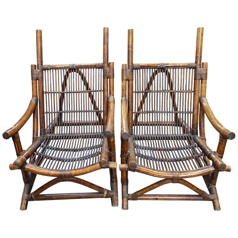 Pair of Bamboo Side Chairs, France, 1940s For Sale