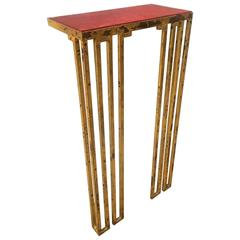 """Jean Royere Gold Leaf Wrought Iron Console Model """"Crenaux"""""""