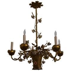 Antique Gold Bronze Light Fixture with Saxe Porcelain Flowers