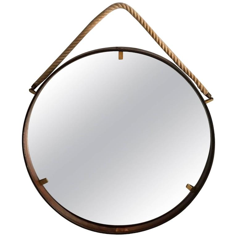 Italian Stitched Leather Round Mirror with Brass Accents and Rope