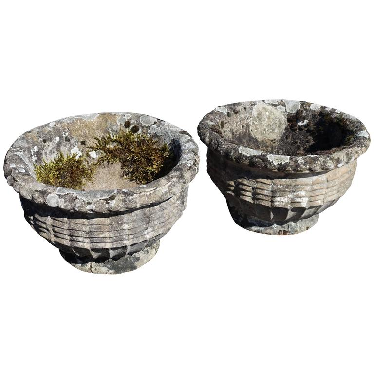 Pair of Stone Pots, England, 1930s 1