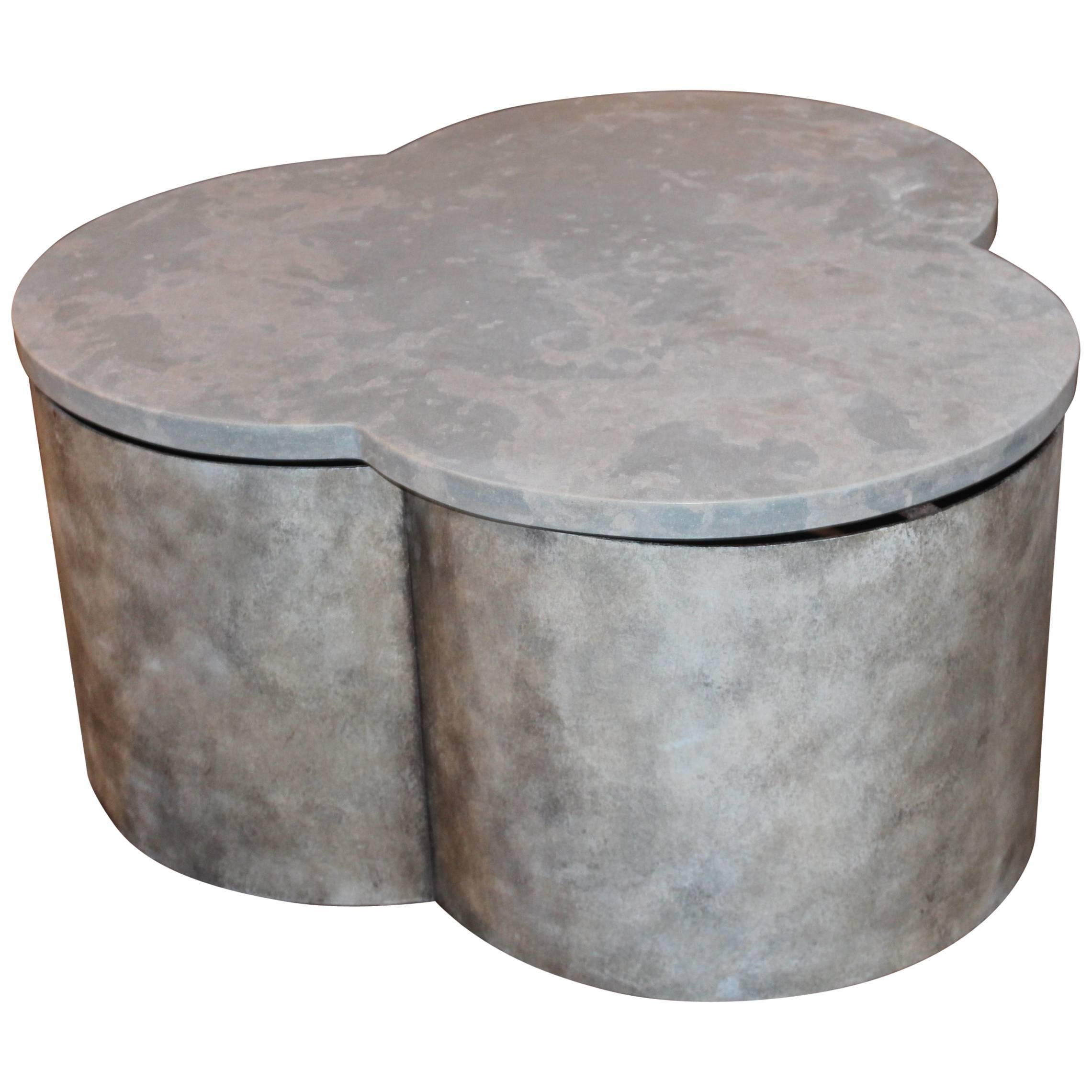 Transitional Coffee Table with Limestone Top For Sale at 1stdibs