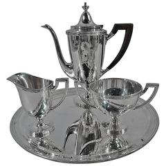 Tiffany Traditional Sterling Silver after Dinner Coffee Set on Tray