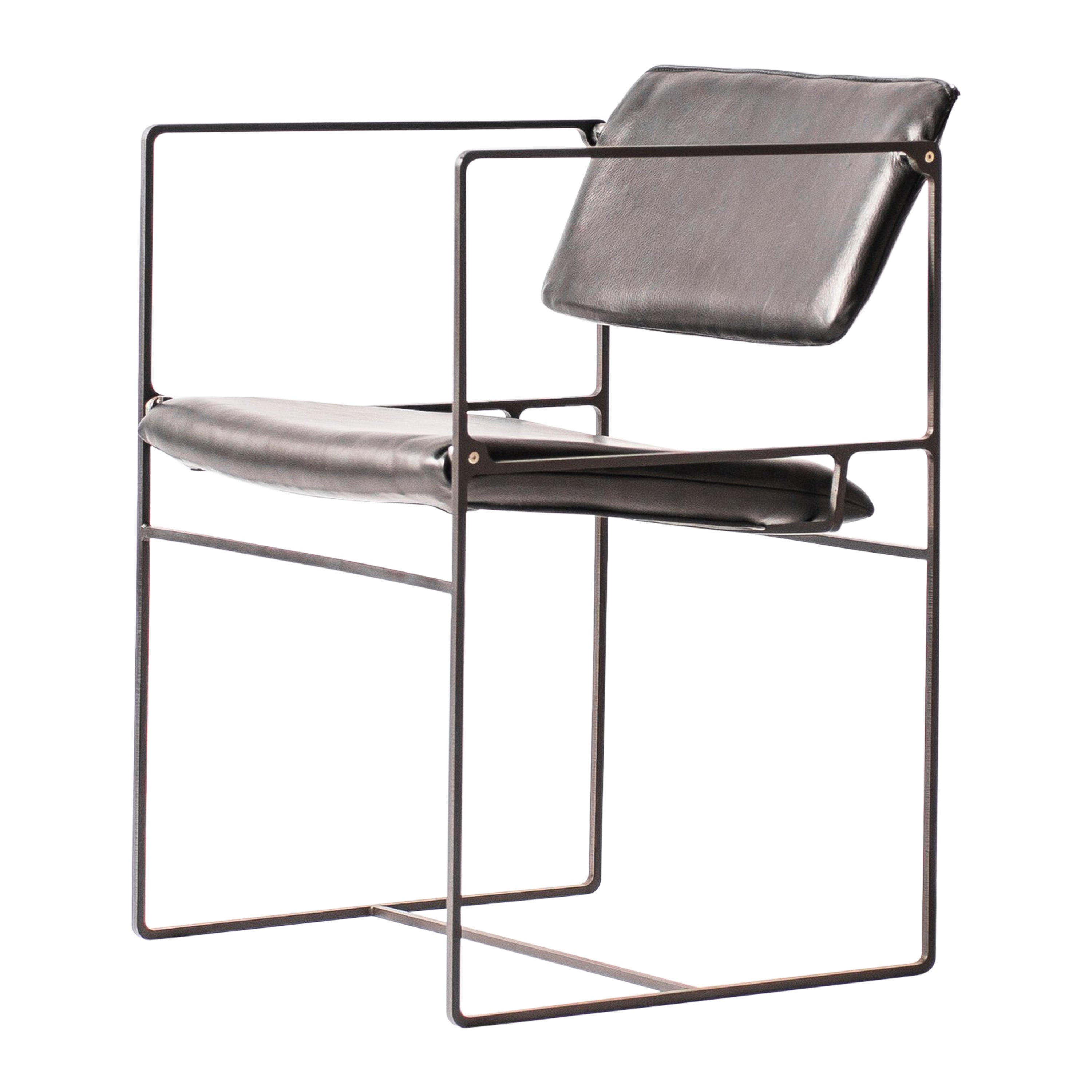 Lounge Pivot Chair in Laser-Cut Steel Frame and Leather Seat