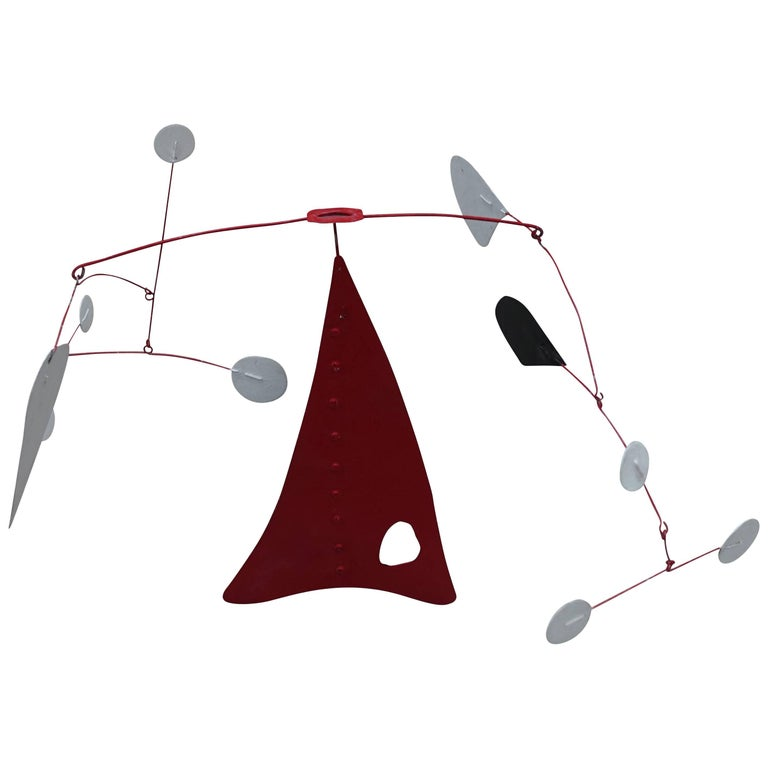 Mid-Century Black, Red, White Metal Mobile, France For Sale