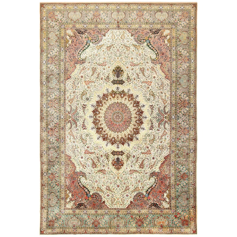 Ivory Wool And Silk Persian Naein Area Rug For Sale At 1stdibs: Finely Woven Silk And Wool Vintage Persian Tabriz Rug For