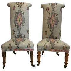 20th Century, English Victorian Tall Back Nursing Chairs