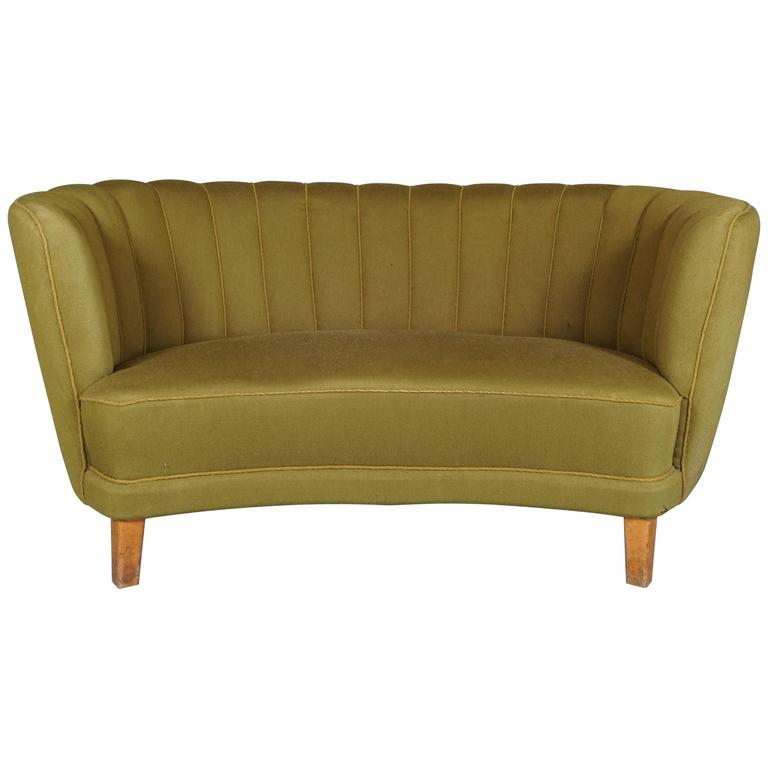 danish green banana form sofa for sale at 1stdibs. Black Bedroom Furniture Sets. Home Design Ideas