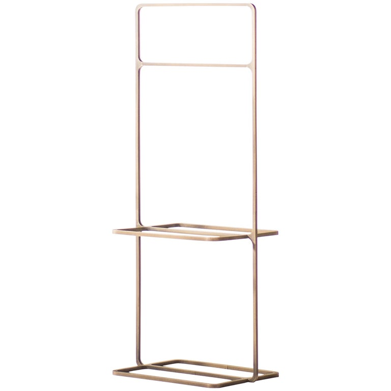 Minimal Magazine Rack in Laser-Cut Antiqued Brass For Sale