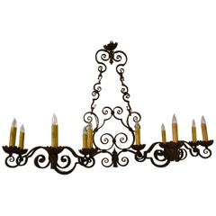 Antique French Provincial Twelve-Light Wrought Iron Chandelier