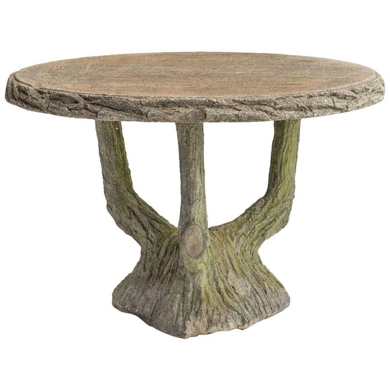 Beau Concrete Faux Bois Garden Table, Circa 1950 For Sale