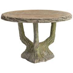 Concrete Faux Bois Garden Table, circa 1950
