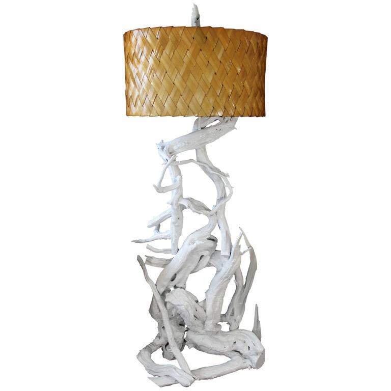 Mid Century Modern White Lacquer Driftwood Floor Lamp