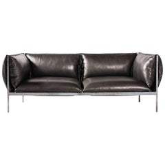 Double-Seat Sofa in Milled Black Leather and Oiled Laser Cut Steel