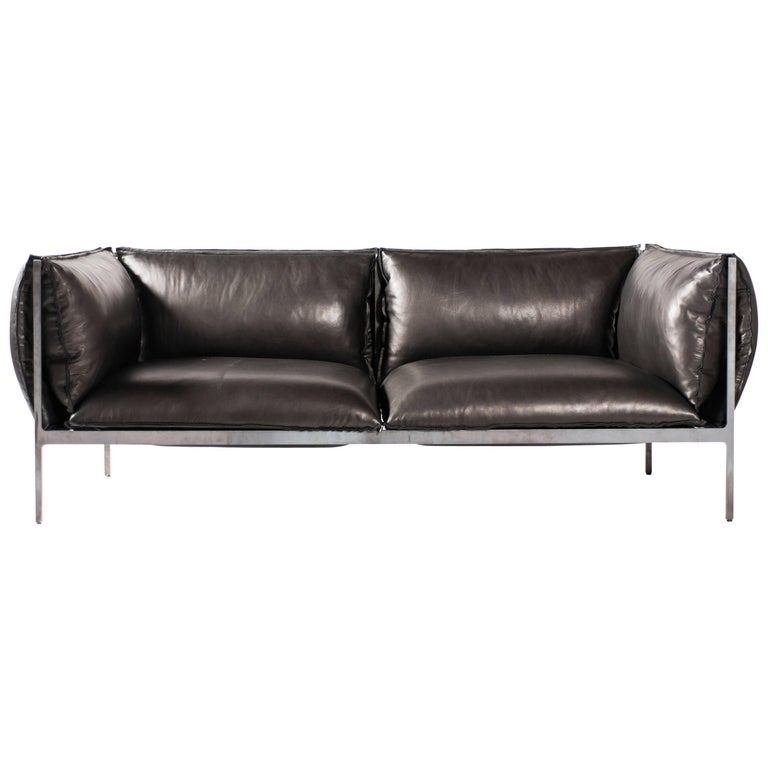 Double-Seat Sofa in Milled Black Leather and Oiled Laser-Cut Steel For Sale