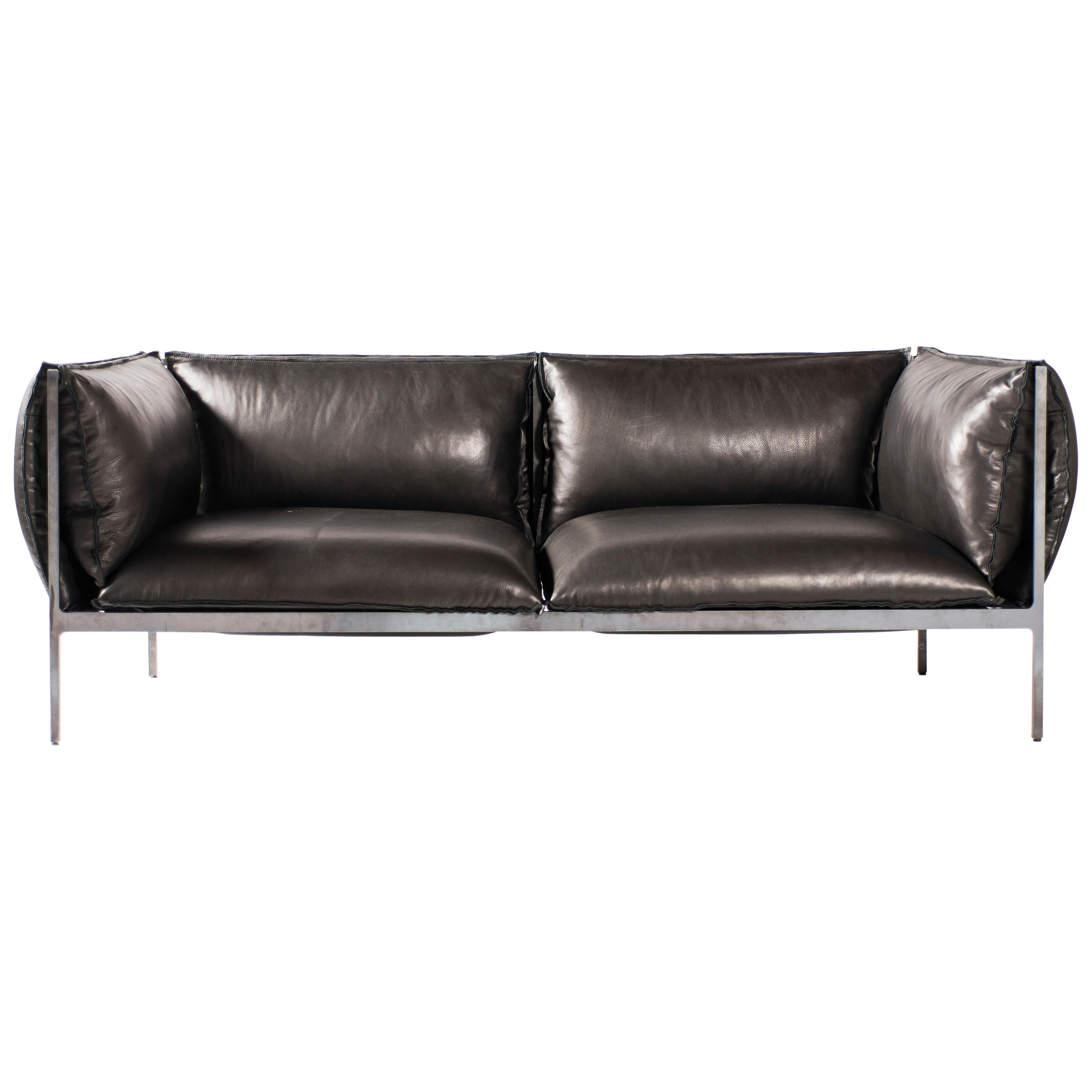 Double-Seat Sofa in Milled Black Leather and Oiled Laser-Cut Steel