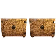 Pair of Custom Quality Tortoise Shell Decorated Cabinets Possibly Mastercraft