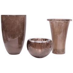 Group of Three Smoky Gray Rock Crystal Quartz Vases