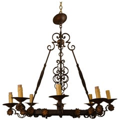 Antique French Wrought Iron Eight Light Fixture with Floral Detail