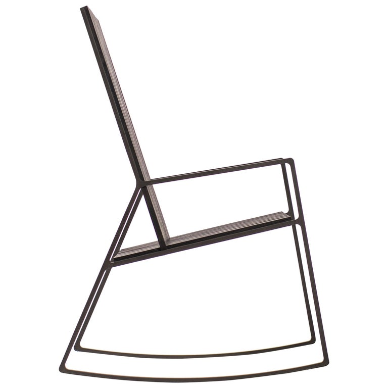 Rocking Chair in Laser-Cut Blackened Steel and Black Oak Slats For Sale