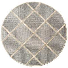 Terrain Blue and Grey Geometric Textured Round Wool Rug