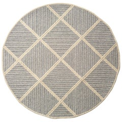 Terrain Rug, Blue and Grey Braided Woven Wool, Custom Made in the USA, Round