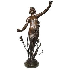 French Art-deco-orientalist Spelter of a Nude Young Maiden, Attributed to Hottot