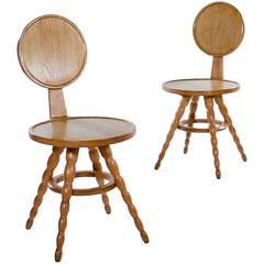 Pair of Unusual Oak Hall Chairs with Bobbin Legs