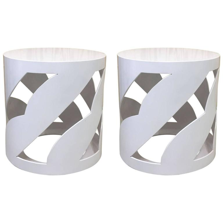 Pair of Round Lacquered Side Tables