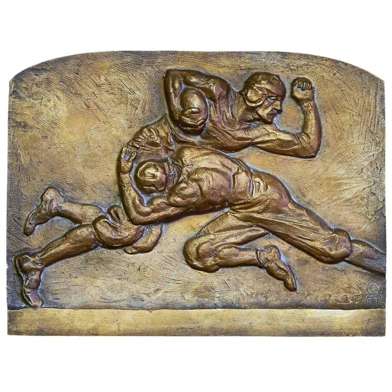 """Football Tackle,"" Unique Mid Century Bronze Sculptural Panel by Torrey For Sale"