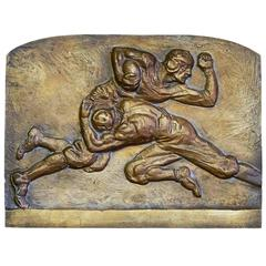 """Football Tackle,"" Unique Mid Century Bronze Sculptural Panel by Torrey"