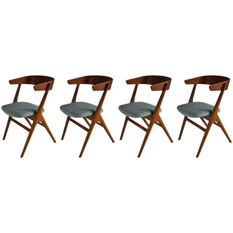 Helge sibast dining chairs set of 4 rare restored and for Reupholstered chairs for sale