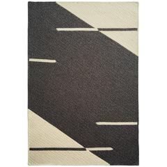 Line No. 2 Dark Grey & Cream Chunky Textured Natural Un-dyed Wool Reversible Rug