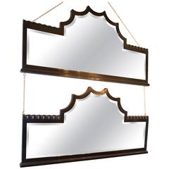 Art Deco Black Lacquered Wood Frame Mirrors